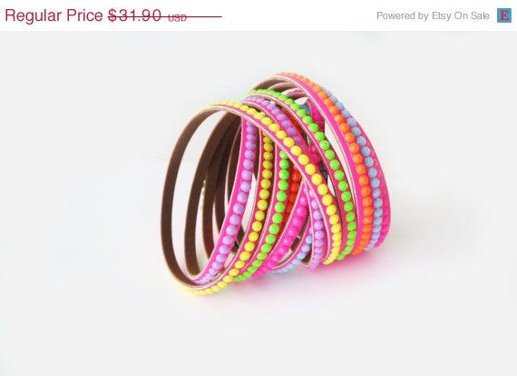 ON SALE Leather Cuff Bracelet Colorful Studded by MaxiJoy on Etsy, $28.71