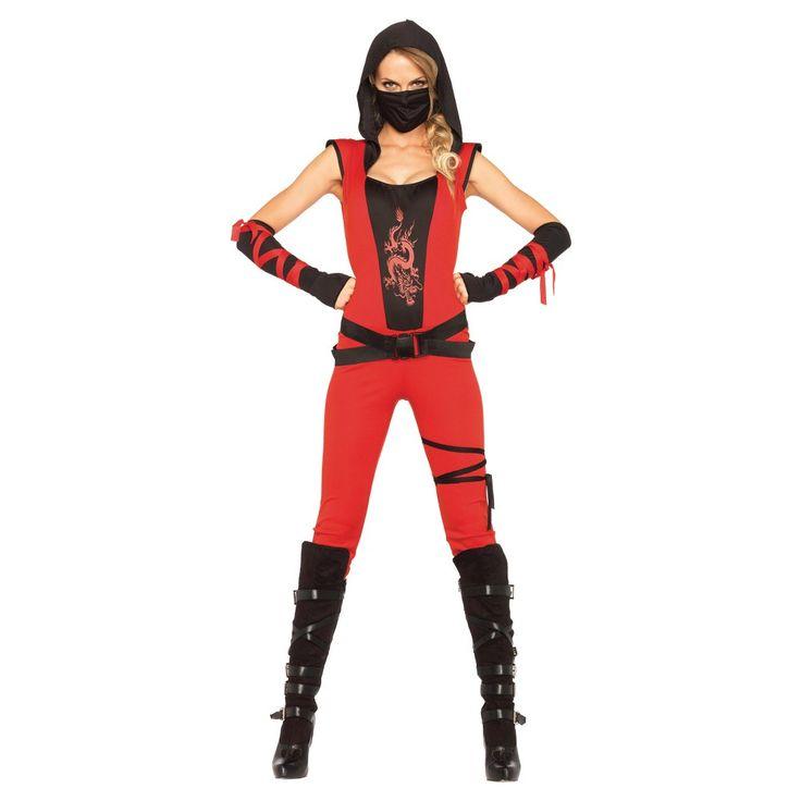 Women's Ninja Assassin 4 Piece Costume - Large, Red