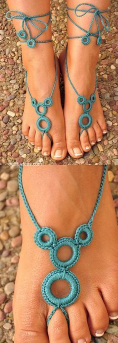 Handmade Crochet Barefoot Sandals for Wedding, Boho, Bikini, Beach, Toe, Anklet Foot Jewelry