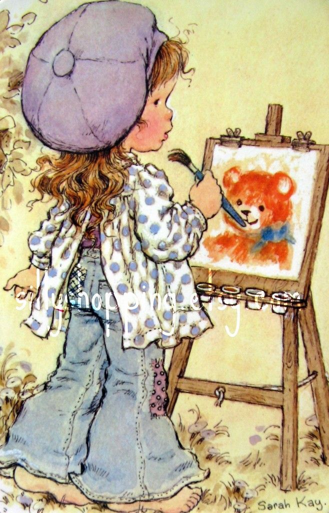 Vintage 70s Sarah Kay Cute Girl Painting Postcard
