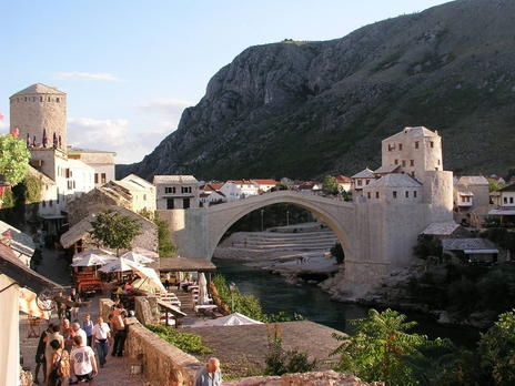 Old Bridge Area of the Old City of Mostar - Bosnia and Herzegovina