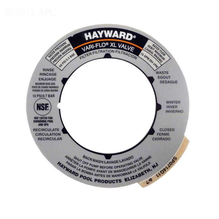 Gray multiport pool sand filter valve round label plate