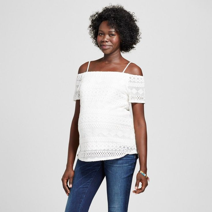 Maternity Short Sleeve Of The Shoulder Lace Top White M - Macherie, Women's