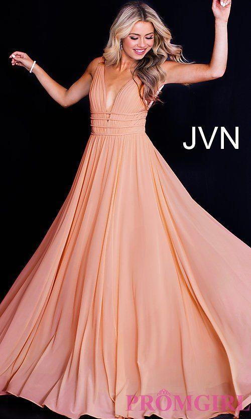 19ef216a63d JVN by Jovani Sleeveless Ruched V-Neck Prom Dress in 2019