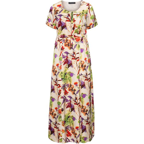 Manon Baptiste Cream / Multicolour Plus Size Floral print maxi dress (5 565 UAH) ❤ liked on Polyvore featuring dresses, cream, plus size, sleeved maxi dress, plus size floral dresses, plus size dresses, flower print dress and women's plus size dresses