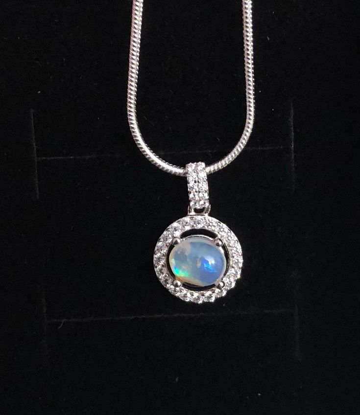 Australian Black Opal 925 silver pendant on a  925 silver snake chain necklace 6x6x3.5mm round opal 1.67ct