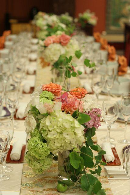 和婚の装花 目黒雅叙園様へ :ゲストテーブル