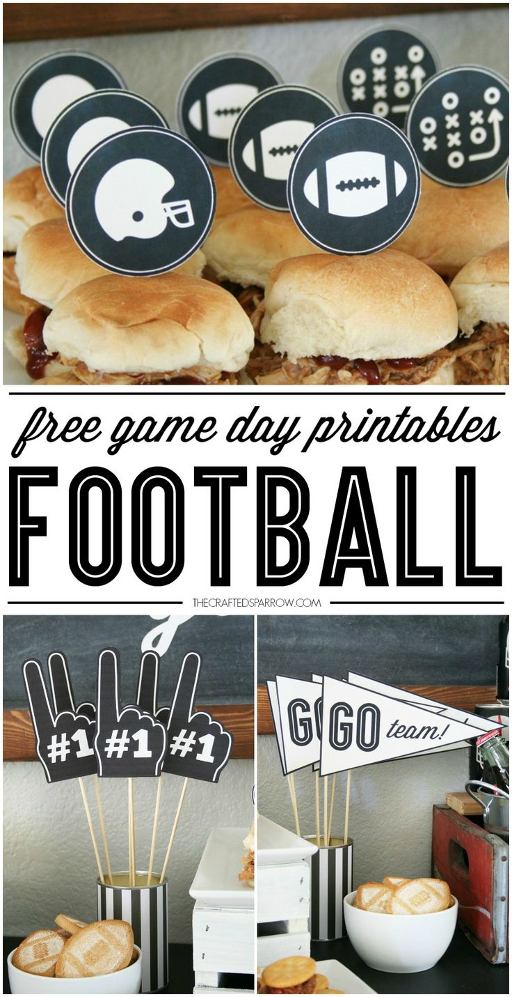 Free Football Printables, perfect for parties or the Big Game!                                                                                                                                                      More