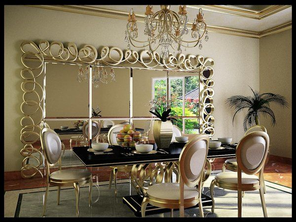 Beautiful Luxury Dining Room With Beautiful Feature Mirror And Furniture Photo