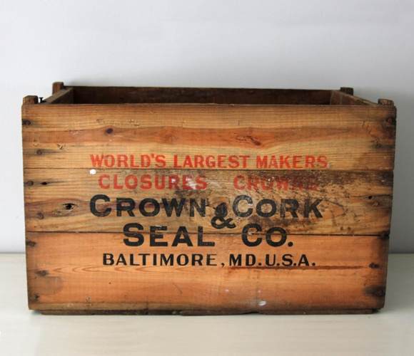 Large and heavy, vintage wooden crate.