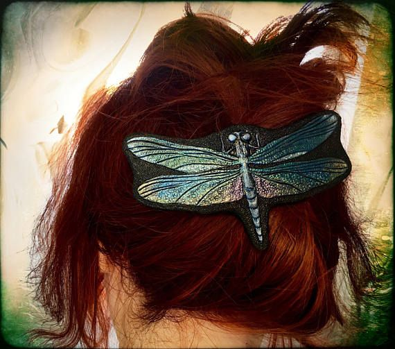 Rainbow dragonfly tooled leather hair barrette  - Artisan hair barrette - Original gift for her - Iridescent fantasy dragonfly  hair clip