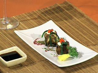 Vegetales rellenos con arroz de sushi