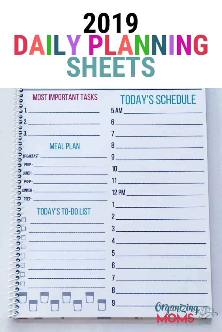 2019 planning sheets collection organization ideas a group board