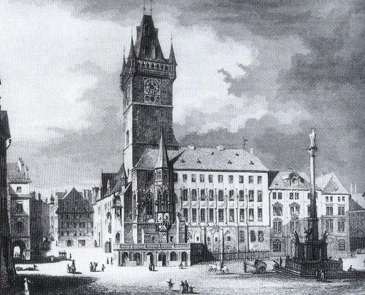 1820 - Staroměstská radnice kolem roku 1820. Východní křídlo bylo během josefínských přestaveb necitlivě přepatrováno. - Foto vybral a popisky pořídil facebookový profil Staroměstská radnice v Praze