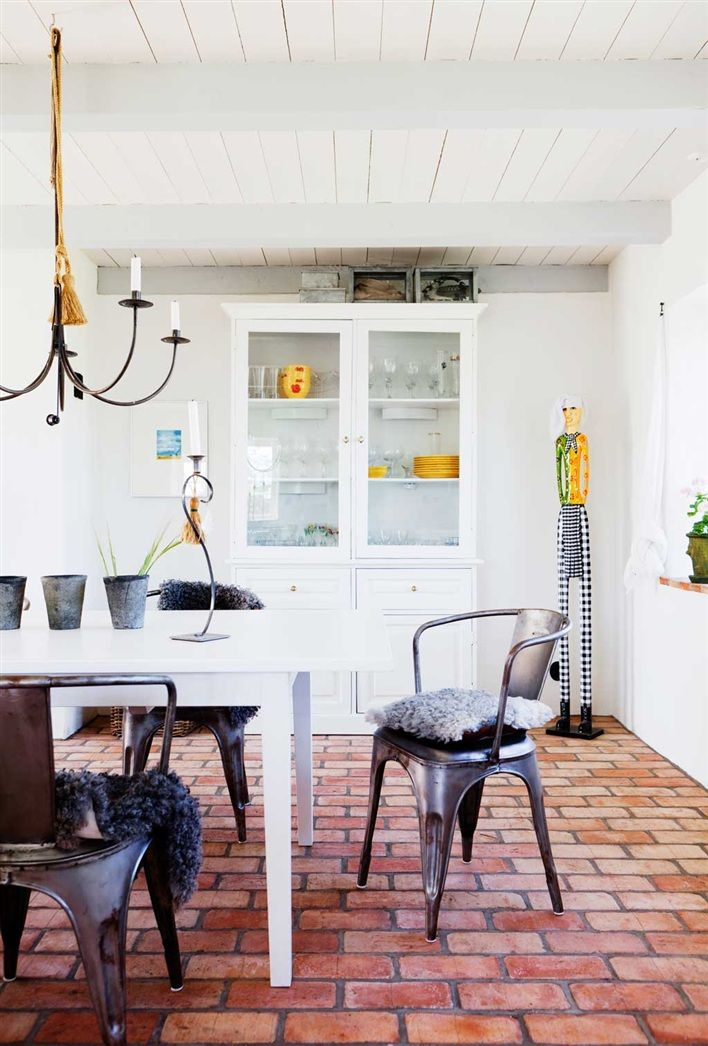 big fan of brick floors. my scandinavian home: A beautiful Swedish home in Österlen
