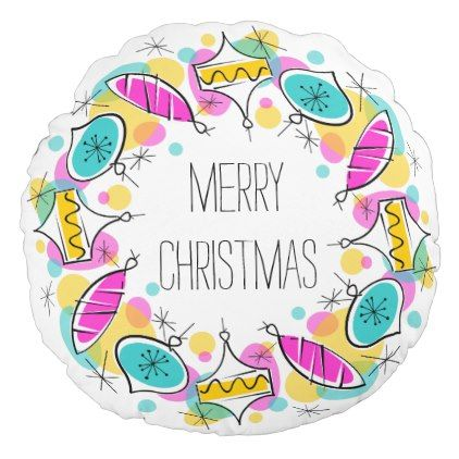 Retro Tree Baubles Circle Christmas round Round Pillow - retro gifts style cyo diy special idea