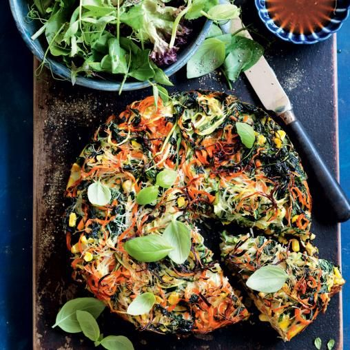 Noodle, vegie and herb frittata