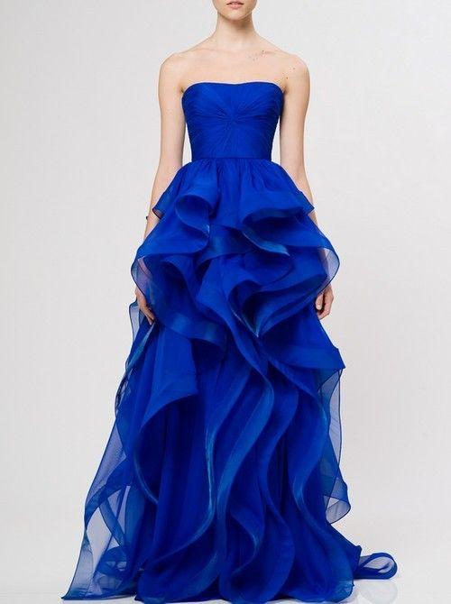 Blue Waves Riffles Dress/Gown