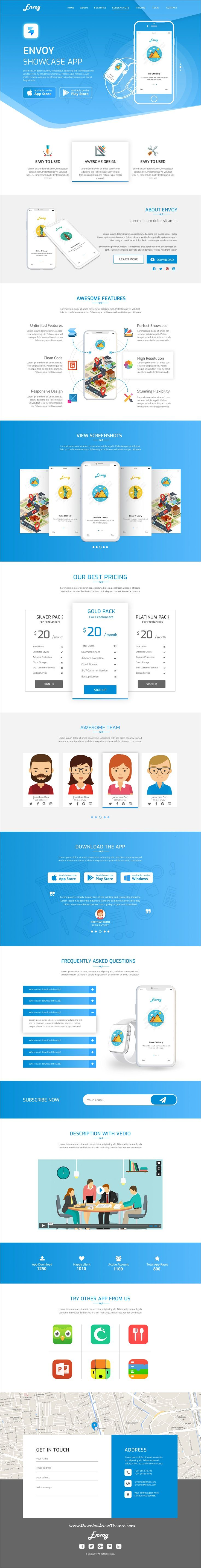 Envoy is clean and modern design #PSD template for onepage #app #landingpage website to live preview & download click on image or Visit   #uiux