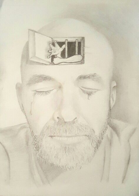 Mind Prison - depression sad mind prison graphite drawing pencil trapped