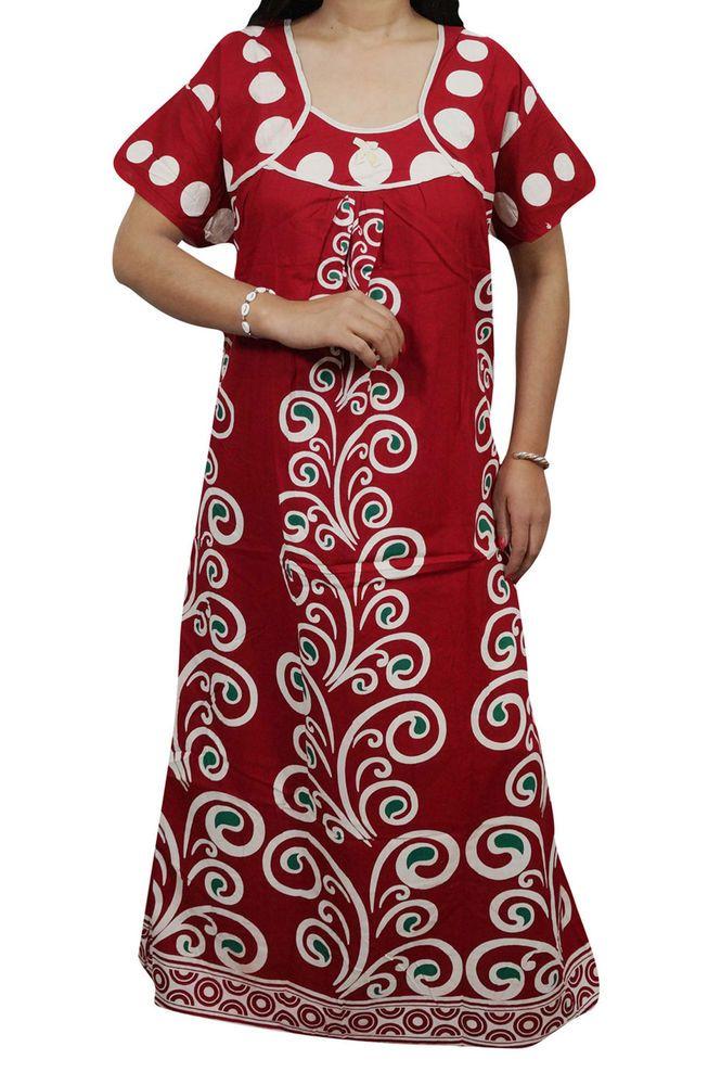 "Indiatrendzs Womens Nighty Cotton Red Nightwear Night Gown Chest- 48"" | eBay#nighty #women #summer #nightwear #nightgown #maxinighty"
