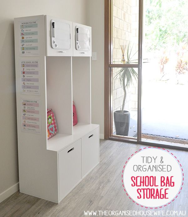 A tidy and organised area for school bags, hats and books