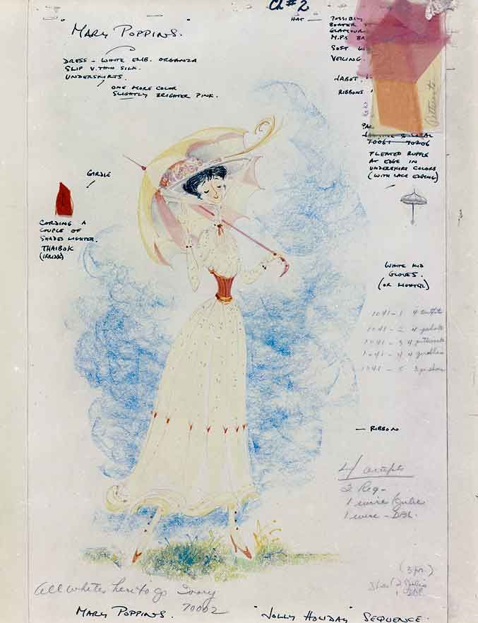 Mary Poppins costume design sketches.