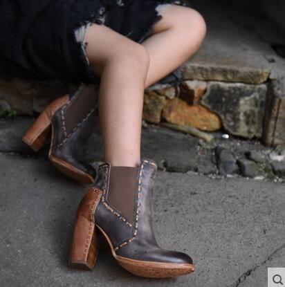 Artmu 2016 Женская Обувь Швейные Моды Старинные Коровьей Острым Носом Сапоги Элегантные Грубые Туфли на Высоком каблуке Женская Обувь купить на AliExpress