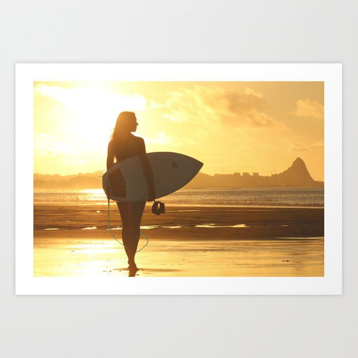 Buy Surfer On The Beach Woman Art Print By Limitlessdesign