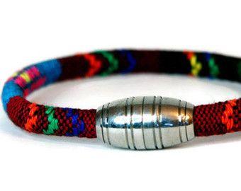 Unisex geweven katoen Bracelet - Armband voor mannen van Man - Tribal Brown-blauw | Vegan Tribal armband | Etnische armband | Unisex Boheemse sieraden