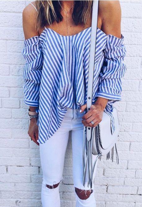 stripes + white #carolinecostas #topshop || @kyliieee