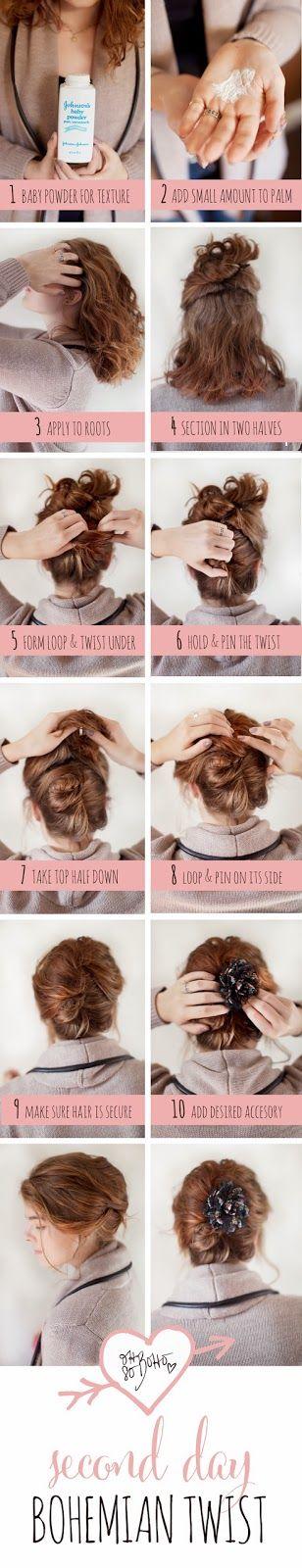 Oh So Boho: Second Day Hair Tutorial: Bohemian Twist