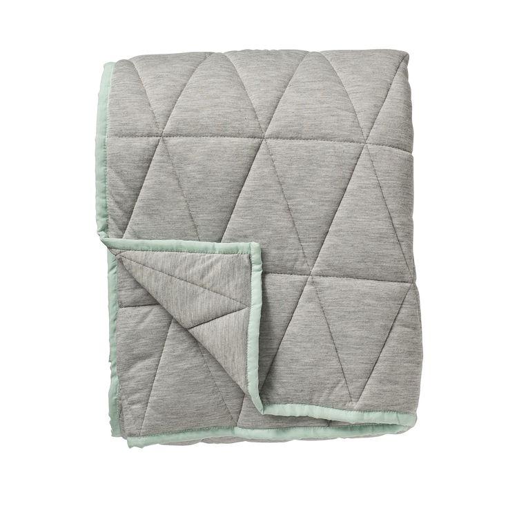 Bloomingville Decke aus Jersey, grau mit mintfarbener Borte 130x170cm