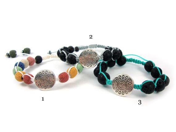 FREE SHIPPING Volcanic Lava Handmade Greek Adjustable Bracelet & Greek Sun Infinity Key , Greek Bracelet , Lava Steine Griechische Armband on Etsy, 18,00€