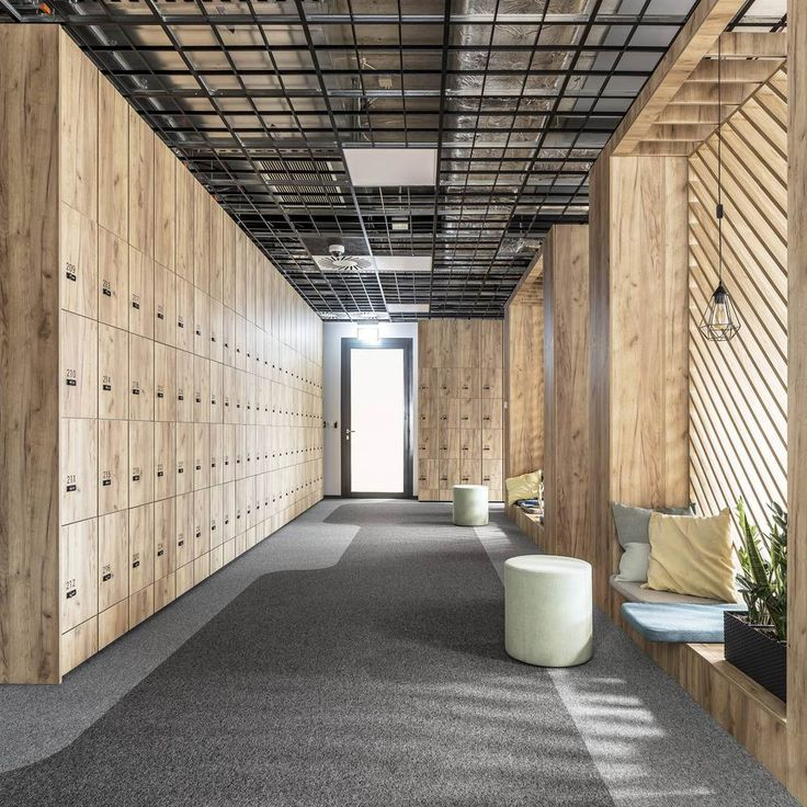 office inspiration - exposed ceiling - lockers - timber - plywood - corridor - quiet space - casual meet