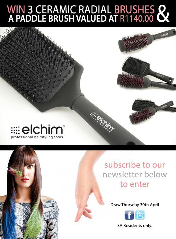 COMPETITION CLOSED > WIN a set of 3 brushes and a paddle brush with Elchim and Hair & Beauty Scope. Draw date - 30th April 2015. SA Residents only. www.hairscope.co.za