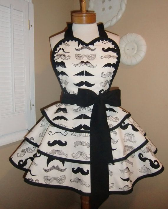 Mustache Print Womans Retro Apron Print With Triple Layer Tiered Skirt and Heart Shaped Bib