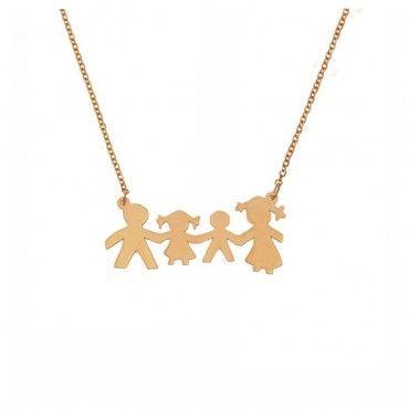 Χαρούμενο γυναικείο κολιέ ροζ χρυσό Κ9 για μαμα με οικογένεια - μπαμπάς κόρη γιος μαμά - Κάντε την παραγγελία σας | Κολιέ για μαμάδες ΤΣΑΛΔΑΡΗΣ Χαλάνδρι #οικογενεια #χρυσο #κολιε
