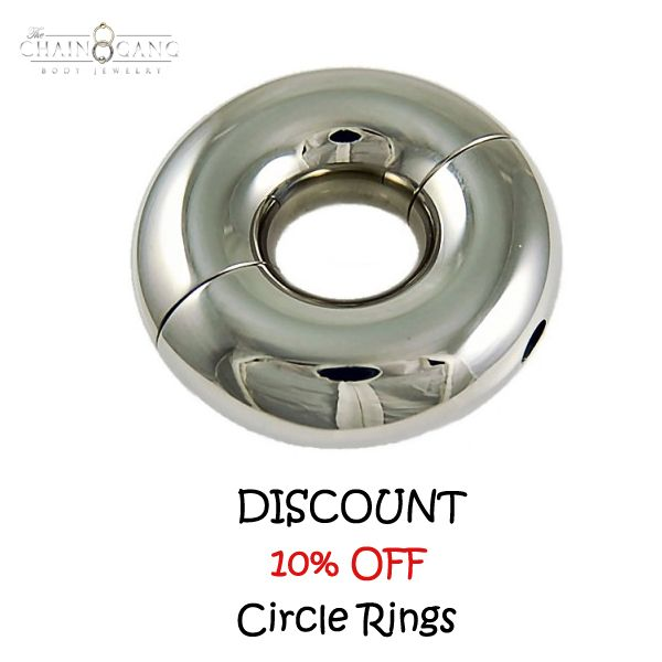 DISCOUNT! 10% OFF! Circle Rings. They are a beautifully polished piece that will bring you a lifetime of pleasure. They are great in tons of piercings, but are the most popular for Prince Albert's and Septum's. #circle #rings #septum #piercing #jewelry #prince albert
