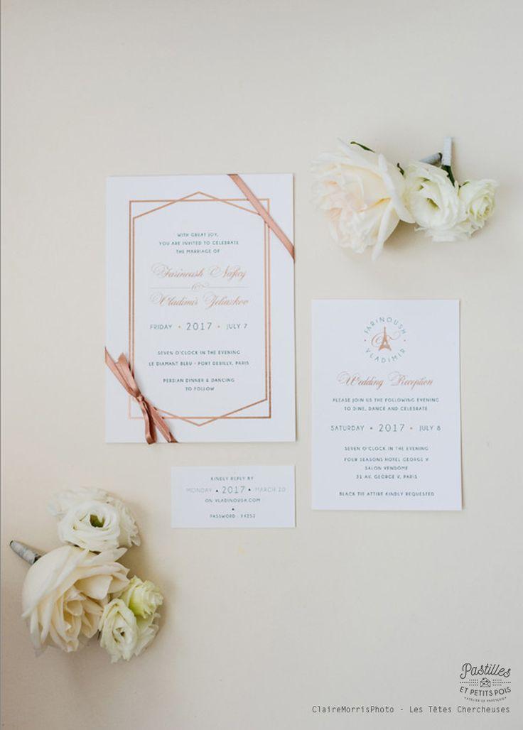 Faire-part sur-mesure impression letterpress or rose - Création Pastilles et Petits Pois - Mariage Paris - Logo de mariage