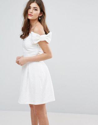 Miss Selfridge Bow Bardot Skater Dress