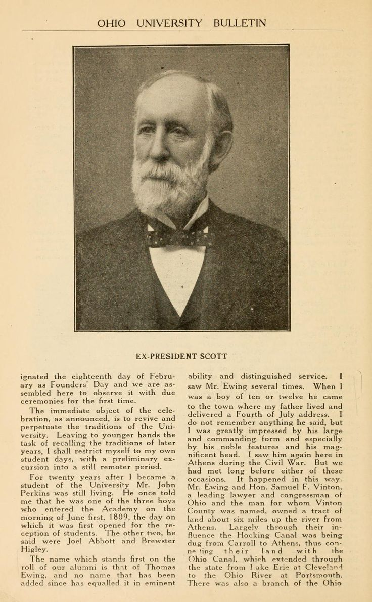 "Ohio University Bulletin, March 1920. ""Ex-President Scott's Address."" Former President Scott speaks at the first Founders Day. :: Ohio University Archives"