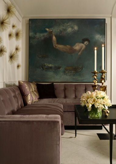 Muted jewel tones in an elegant living room by Melanie Turner ▇