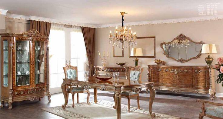 Masiva Lüks Klasik Yemek Odası Takımı.  #YemekOdası #DiningRoom #Decoration #Ev #Dekorasyon #Moda #Mobilya #Furniture