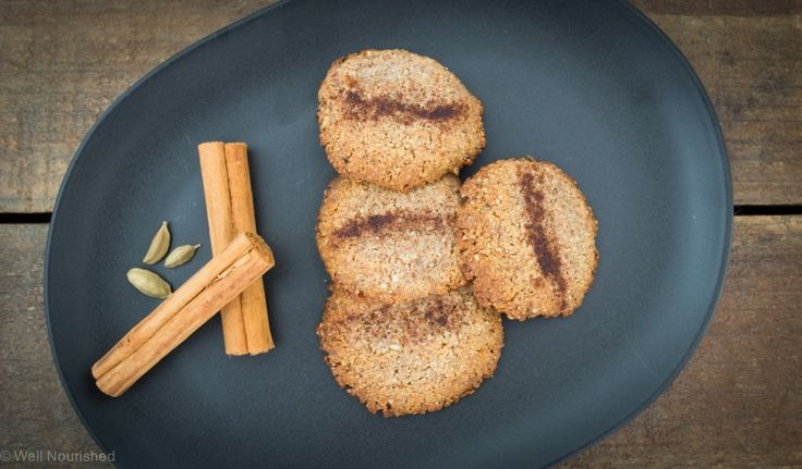 Hazelnut Chai Spiced Biscuits, from Well Nourished. Use rice malt syrup for fructose-free. They freeze well too!