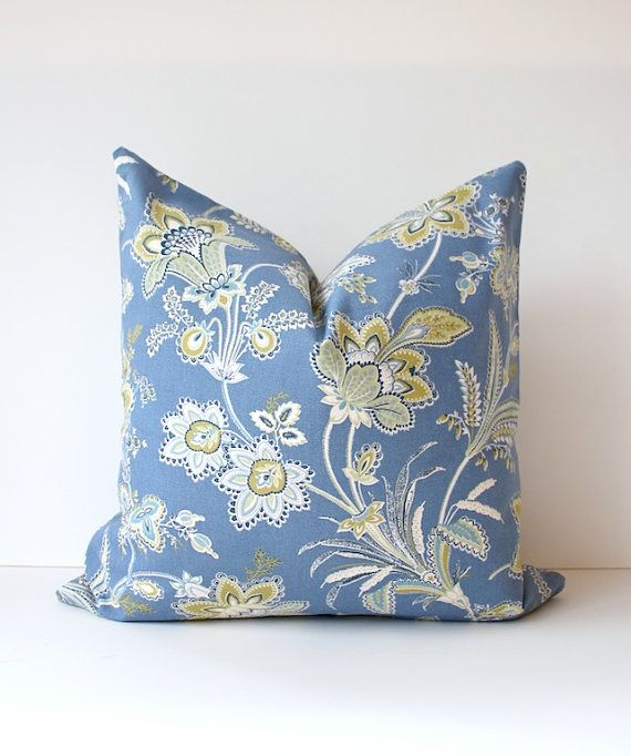Modern Floral Chambray Decorative Designer Pillow Cover 18