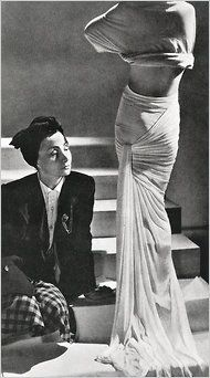 Madame Grès, the legendary creator of the sensual austerity of a draped dress, died in obscurity more than 17 years ago.  Madame Grès with one of her designs circa 1946.
