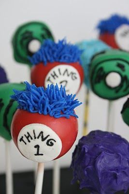 Dr. Seuss inspired cake pops (Green Eggs and Ham, Thing 1 & Thing 2, Truffala Trees).