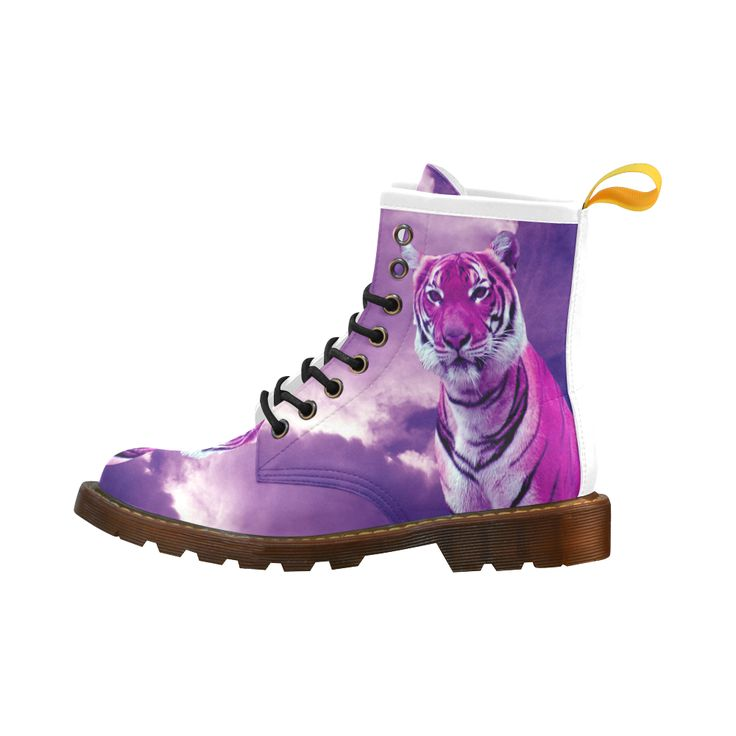 Purple Tiger Leather Martin Boots For Men #erikakaisersot #artsadd #boots