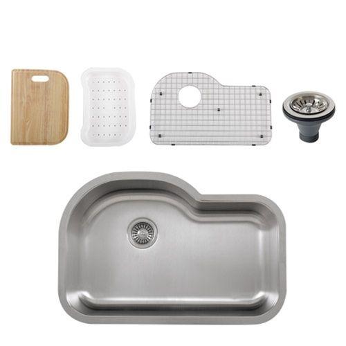 Ticor S113 Undermount 16-Gauge Stainless Single Bowl Kitchen Sink + Accessories